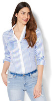 New York & Co. 7th Avenue - Madison Stretch Shirt - Blue & White Stripe