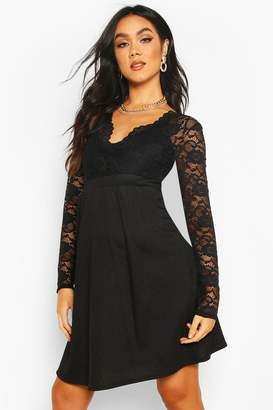 boohoo Maternity Lace Sleeve Skater Dress