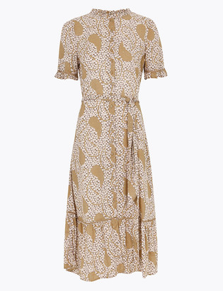 Marks and Spencer Printed Frill Belted Midi Shirt Dress