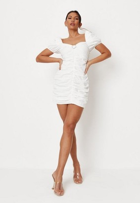 Missguided White Poplin Ruched Heart Detail Mini Dress
