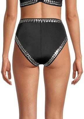 Norma Kamali Studded High-Waist Bikini Bottoms
