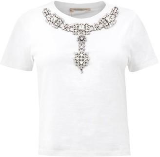 Christopher Kane Crystal-embellished Cotton T-shirt - White