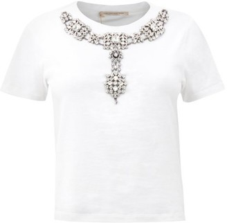 Christopher Kane Crystal-embellished Cotton T-shirt - Womens - White