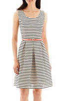Tiana B Sleeveless Striped Belted Fit-and-Flare Dress
