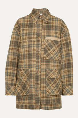 BEIGE Andersson Bell - Dena Oversized Vegan Leather-trimmed Checked Wool Jacket