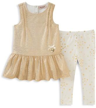 Juicy Couture Baby Girl's Metallic Peplum Top Leggings Set