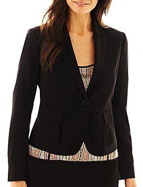 Liz Claiborne One-Button Cropped Jacket