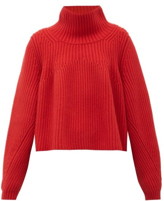 KHAITE Denney High-neck Ribbed-cashmere Sweater - Womens - Red