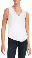 Red Haute Surplice-Front Burnout Tank Top