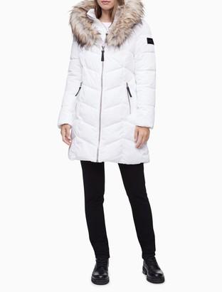 Calvin Klein Heavyweight Zip Faux Fur Hooded Puffer Jacket