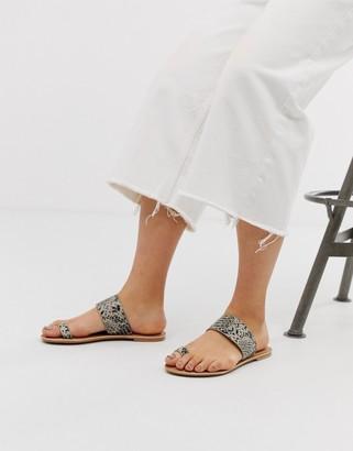 Park Lane Leather Toe Loop Flat Sandals in snake-Multi