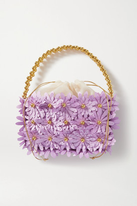 VANINA Inflorescence Embellished Satin And Acrylic Tote - Lilac