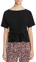 DKNY Short Sleeve Tie-Front Blouse