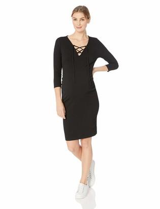 Motherhood Maternity Women's Maternity Sleeveless Lace Up Side Ruched Bodycon Dress