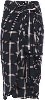 Mother of Pearl Emma Asymmetric Draped Checked Twill Midi Skirt