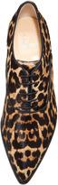 Christian Louboutin Zazou Pointed-Toe Leopard-Print Calf Hair Derby Flat