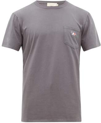 MAISON KITSUNÉ Fox Applique Cotton T Shirt - Mens - Dark Grey