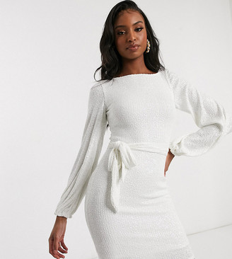Club L London Tall sequin high neck long sleeve belted mini dress in white