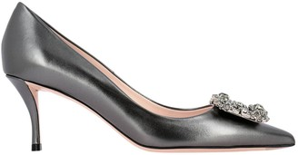 Roger Vivier Pumps Décolleté In Laminated Leather With Flower Buckle And Crystals