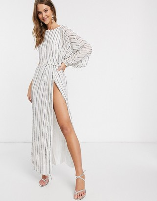 ASOS DESIGN studded linear midaxi dress with drape sleeve