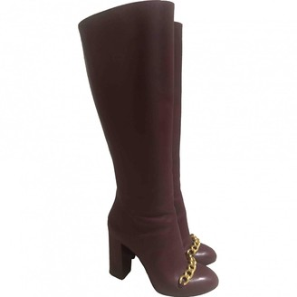 Charlotte Olympia Burgundy Leather Boots