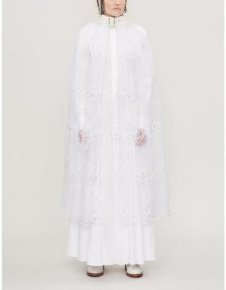 Noir Kei Ninomiya Buckle-collar semi-sheer organza maxi dress