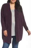 Sejour Plus Size Women's Ribbed Chenille Cardigan