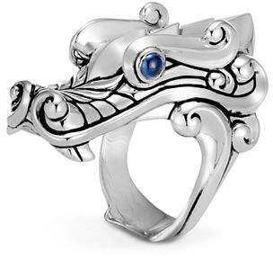 John Hardy Sterling Silver Legends Naga Ring with Sapphire Eyes