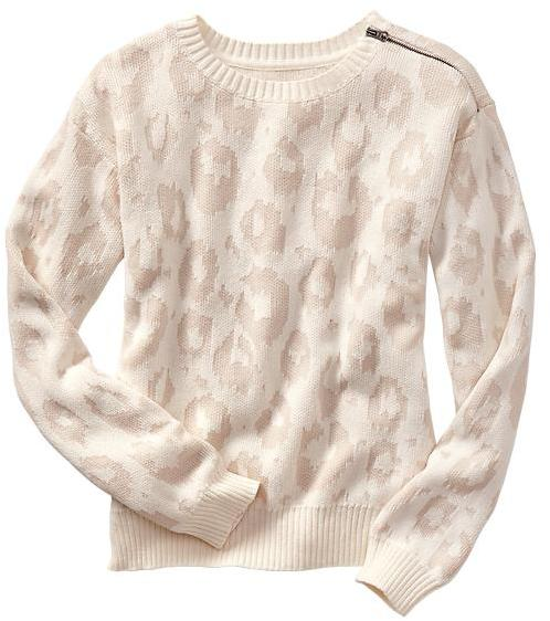 Gap Leopard jacquard zip sweater