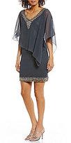 J Kara V-Neck Beaded Chiffon Overlay Short Dress