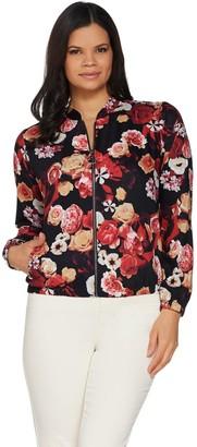 Denim & Co. Studio by Floral Print Zip-Front Bomber Jacket