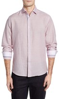 Stone Rose Men's Trim Fit Geo Print Linen Blend Sport Shirt