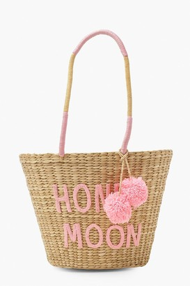 boohoo Honey Moon Pom Pom Large Straw Beach Bag