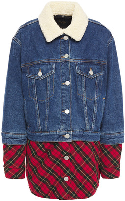 Maje Faux Shearling-trimmed Denim And Checked Flannel Jacket
