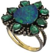 Meira T Women's Opal Emerald & Diamond Ring
