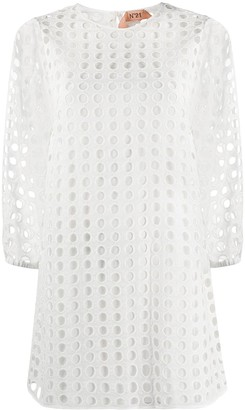 No.21 Perforated-Design Shift Dress