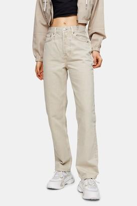 Topshop Womens Putty Dad Straight Leg Jeans - Putty