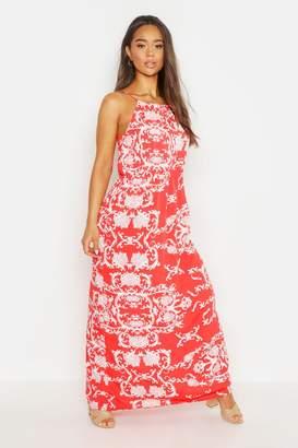 boohoo Woven Strappy Key Hole Maxi Dress