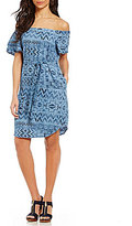 Chelsea & Theodore Off-the-Shoulder Aztec Print Dress