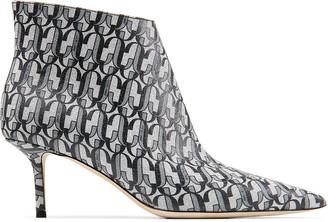 Jimmy Choo MARINDA 65 Metallic Silver and Black JC Monogram Print Glitter Fabric Point-Toe Kitten Heel Boots