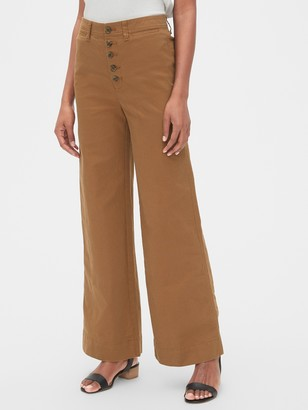 Gap High Rise Button-Fly Wide-Leg Chino Pants
