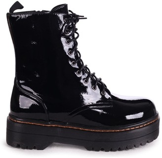 Mae Linzi Black Patent Military Style Lace Up Boot With Chunky Rubber Sole