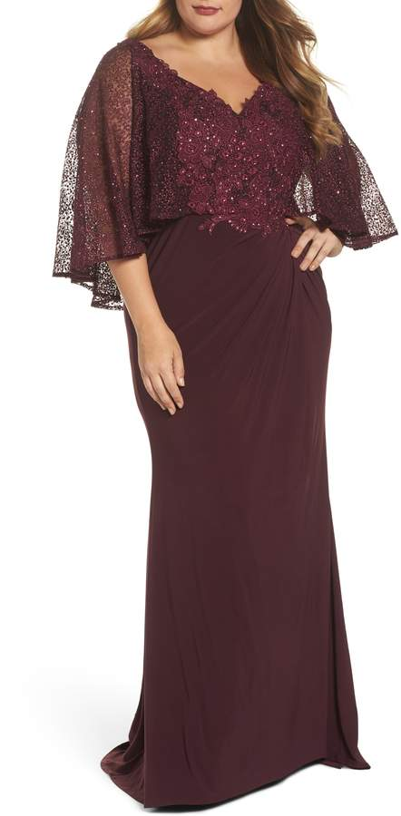 Mac Duggal Lace Capelet Column Gown
