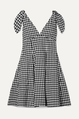Paper London Lily Gingham Cotton-blend Seersucker Mini Dress - Black