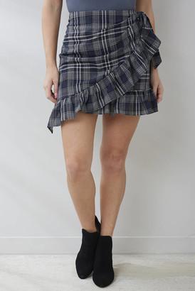 ENGLISH FACTORY Navy Plaid Ruffle Mini Skirt Navy XS