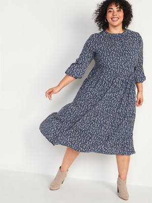 Old Navy Floral-Print Tiered Plus-Size Midi Swing Dress