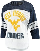 G Iii Women's G-III 4Her by Carl Banks White/Navy West Virginia Mountaineers First Team Mesh 3/4-Sleeve T-Shirt