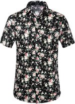 SSLR Men's Flower Buttondown Short Sleeve Shirt