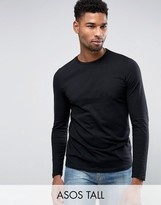 Asos Tall Long Sleeve T-shirt With Crew Neck In Black