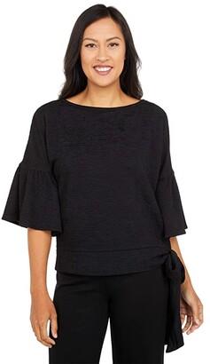 MICHAEL Michael Kors Pin Tuck Side Tie Top (Black) Women's Clothing